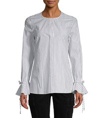 derek lam 10 crosby women's striped cotton-blend top - white black - size 0