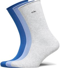 ck women crew 3p roll top emma underwear socks regular socks blå calvin klein