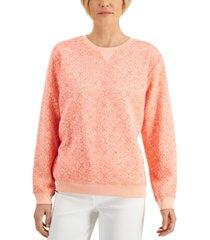 karen scott crewneck printed sweater, created for macy's
