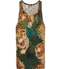 dsquared2 long scoop neck vest in abstract tiger pattern - black