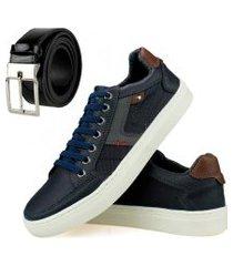 tênis sapatênis casual básico urbano com cadarço azul marinho e brinde de cinto