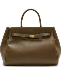 mulberry belted bayswater grained leather satchel - grey