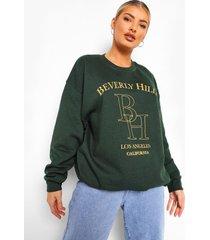 oversized geborduurde sweater, bottle green