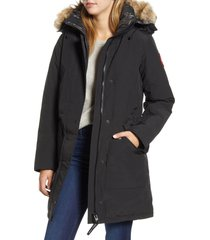 women's canada goose ellesmere arctic tech 625 fill power down parka with genuine coyote fur trim, size large - black