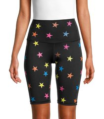 chrldr women's star-print bike shorts - black - size s