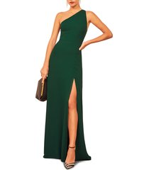 women's reformation evelyn one-shoulder gown, size 8 - green