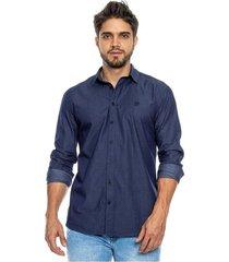 camisa manga larga con logo bordado e hiladilla decorativa en banda color blue