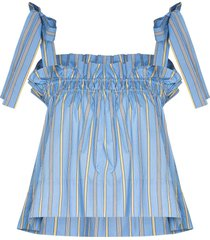 ganni vertical-stripe smocked top - blue