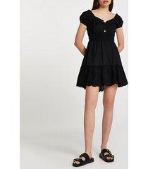 river island womens black puff sleeve shirred mini beach dress