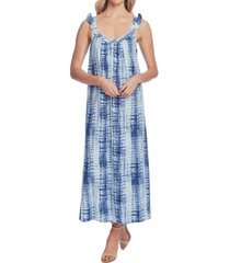 vince camuto ruffle-strap linear shibori dress