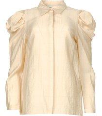 blouse met pofmouwen crop  naturel