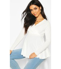 maternity rib wrap lettuce hem peplum top, cream