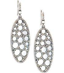 black rhodium-plated sterling silver & diamond oval drop earrings