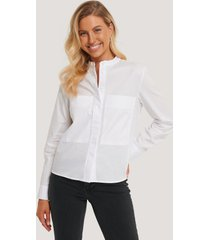 na-kd classic patch pocket band collar shirt - white