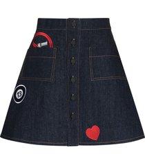 natasha zinko button-front skirt - blue