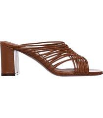sandali donna con tacco pelle