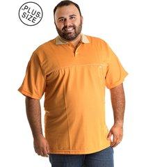 camisa konciny polo manga curta plus size laranja