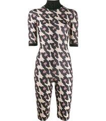 atu body couture animal pattern playsuit - neutrals