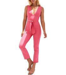 women's free people fp movement after hours plunge neck jumpsuit, size large - pink