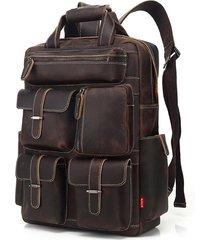 mochila/ hombres retro cuero genuino multi bolsillo-marrón