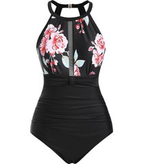 floral mesh panel ruched plus size one-piece swimsuit