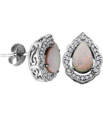 925 sterling silver with lab created opal and cubic zirconia drop stud earrings