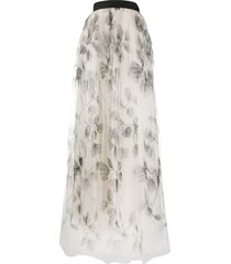 brunello cucinelli full embroidered tulle skirt - neutrals