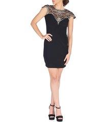 mac duggal women's embellished illusion mini dress - black - size 2