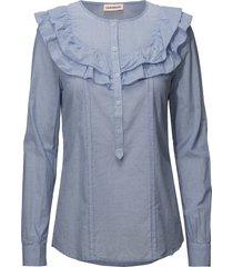 tricia blouse lange mouwen blauw custommade