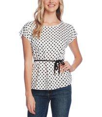 vince camuto extend shoulder delightful dots blouse with rope belt