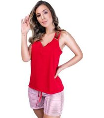 pijama curto adulto blusa e short laço feminino