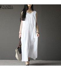 zanzea vestido sin mangas con cuello en v y vestido largo de playa kaftan para mujer -blanco