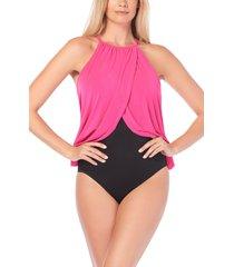 women's magicsuit aubrey one-piece swimsuit, size 16 - pink