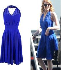 la la land mia cosplay dress costume blue backless elegant v-neck women dresses