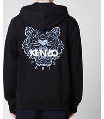 kenzo men's tiger classic full zip hooded sweatshirt - black - xxl