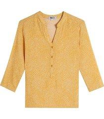 blusa manga 3/4 estampado mini print color amarillo, talla l