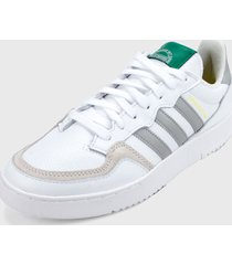 tenis lifestyle blanco-gris-verde adidas originals supercourt