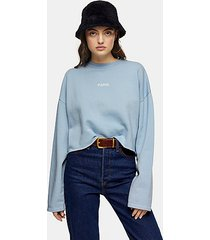 blue paris raw hem sweatshirt - stone