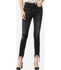 vervet high rise shredded hem skinny crop jeans