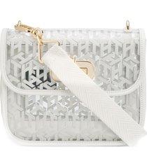 tommy hilfiger sheer logo-print crossbody bag - white