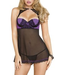 women's plus size scalloped lace halter babydoll set