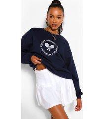 oversized beverly hills tennis sweater, marineblauw