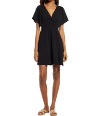 madewell cape sleeve minidress, size 2 in true black at nordstrom