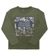 camiseta livy inverno camuflada verde militar