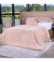 cobertor slim peles king com porta travesseiro  taupe - tessi - estampado - dafiti