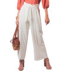 pantalón adrissa culotte bolsa de papel con anudado ivory
