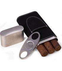 bey-berk leather 3 cigar case with cigar cutter