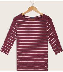 camiseta  en rayas cuello redondo rojo 12