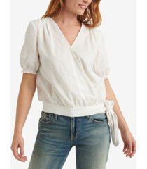 lucky brand textured side-tie wrap top