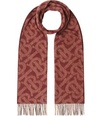 burberry monogram check reversible scarf - red